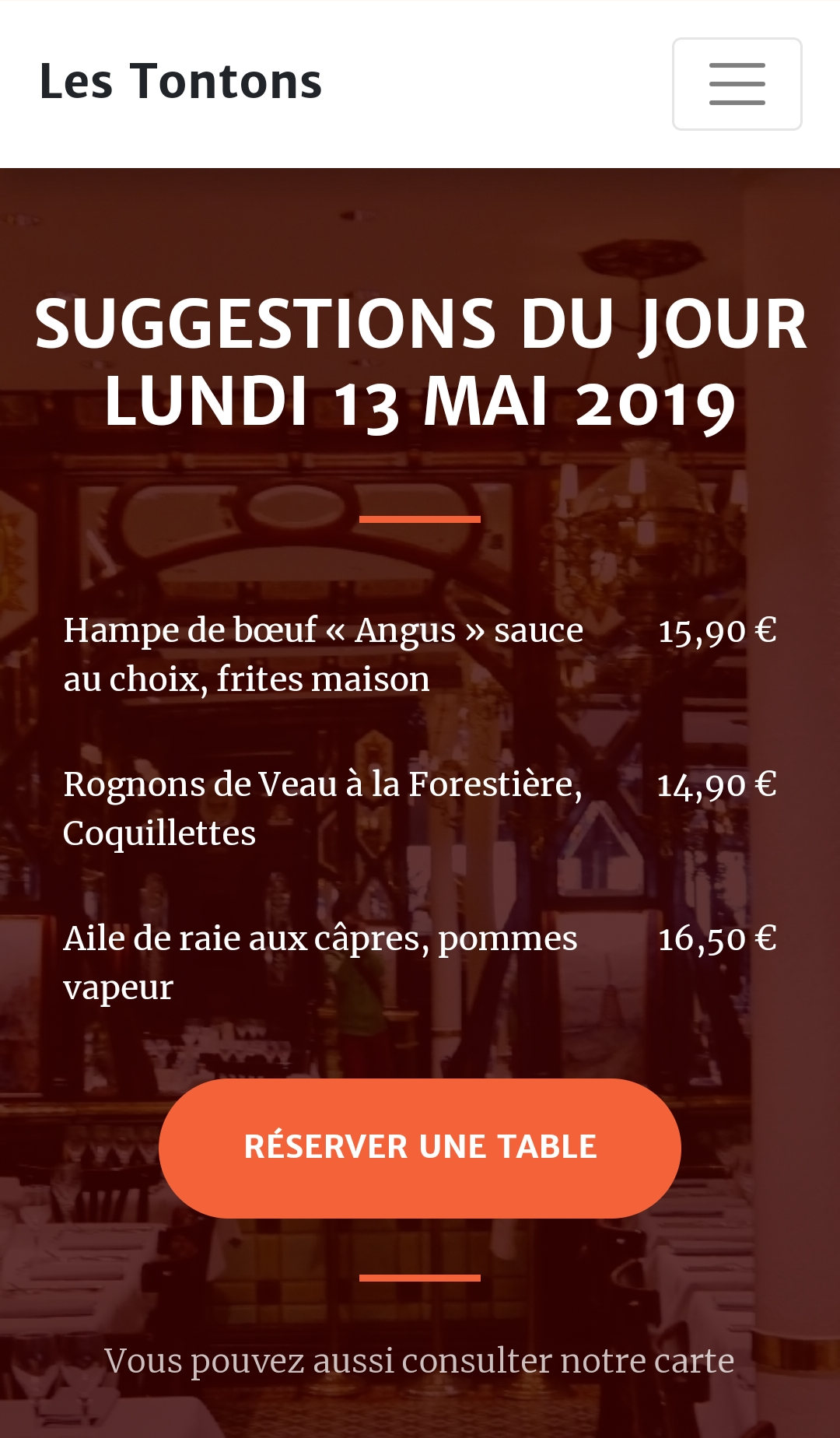 Suggestions du jour - Site